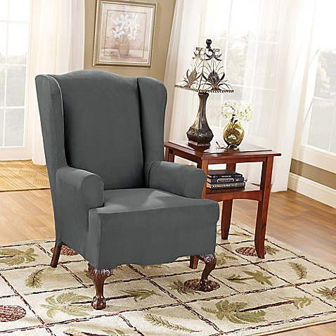 Sure Fit 174 Stretch Suede Wing Chair Slipcover In Carbon