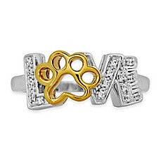 image of ASPCA® Tender Voices Gold-Plated Sterling Silver .08 cttw Diamond Paw Print