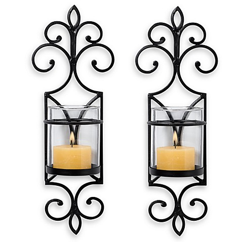 image of San Miguel Pentaro Wall Sconces  Set of 2. Candle Holders   Wall Sconces   Bed Bath   Beyond