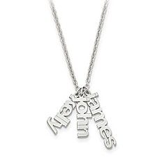 image of Sterling Silver and 14K Gold-Plated 18-Inch Chain Name Charms Trio Necklace