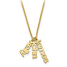 image of 10K Gold 18-Inch Chain Name Charms Trio Necklace