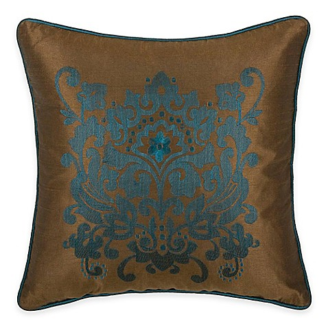 Peacock Blue Throw Pillows : Buy Rizzy Home Embroidered Medallion Square Throw Pillow in Peacock Blue from Bed Bath & Beyond