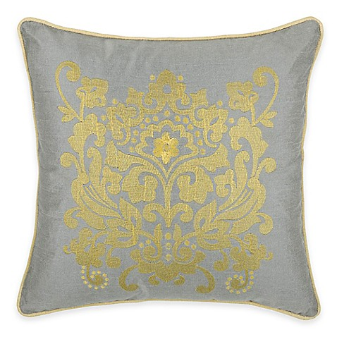 Silver Decorative Bed Pillows : Buy Rizzy Home Embroidered Medallion Square Throw Pillow in Silver from Bed Bath & Beyond