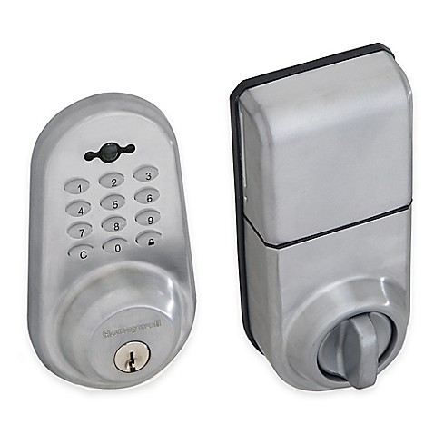 honeywell digital door lock and deadbolt with remote in satin chrome bed bath beyond. Black Bedroom Furniture Sets. Home Design Ideas
