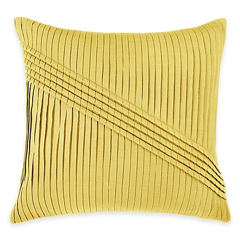 Square Throw Pillow Pattern : Buy Rizzy Home Pleated Pattern Square Throw Pillow in Yellow from Bed Bath & Beyond