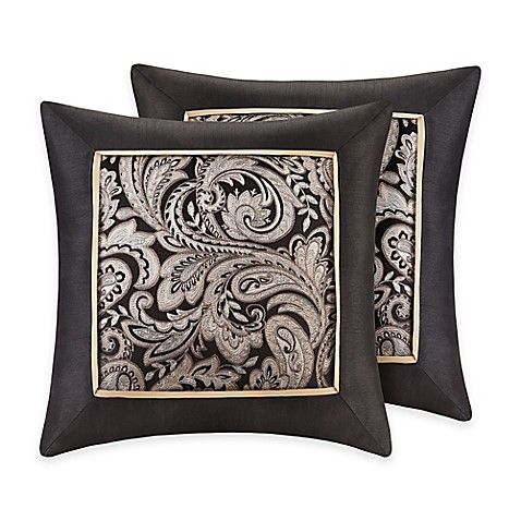 Buy Madison Park Aubrey Square Throw Pillows in Black (Set of 2) from Bed Bath & Beyond