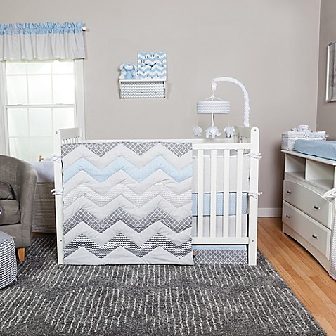 trend lab 174 blue taffy chevron 3 piece crib bedding set 10148 | 723172220914c 478