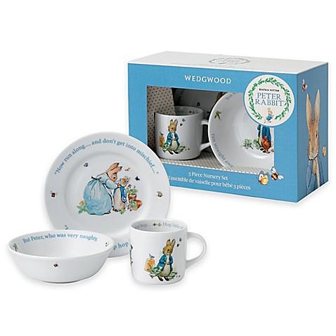 Wedgwood Reg Peter Rabbit 8482 3 Piece Porcelain Nursery Set