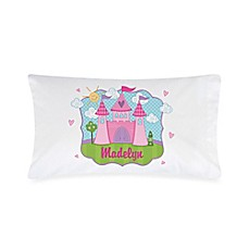 image of Princess Castle Pillowcase in White/Pink