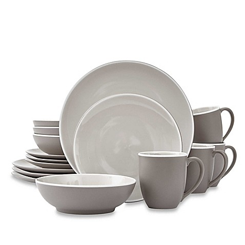 image of noritake colortrio 16piece coupe dinnerware set in clay - Dishware Sets