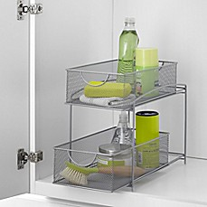 image of .ORG 2-Tier Mesh Double Sliding Cabinet Basket in Silver