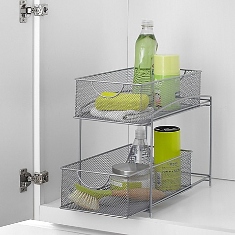 ORG™ Mesh 2 Tier Sliding Cabinet Basket In Silver