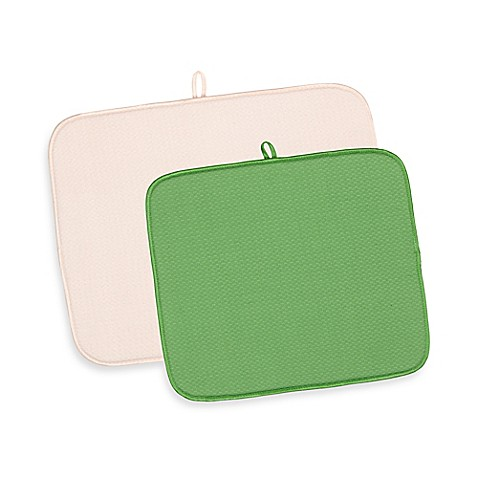 2 Piece Dish Drying Mat Value Pack In Beige Green Bed