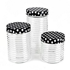 image of Blue Harbor 3-Piece Glass Jar Set with Gingham Lids