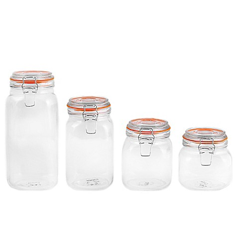 Oggi 4 Piece Glass Canister Set With Clamp Lids Bed Bath