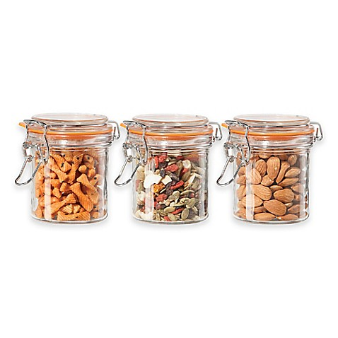 oggi glass canisters set of 3 bed bath amp beyond oggi ez grip handle 4 pc kitchen canister set