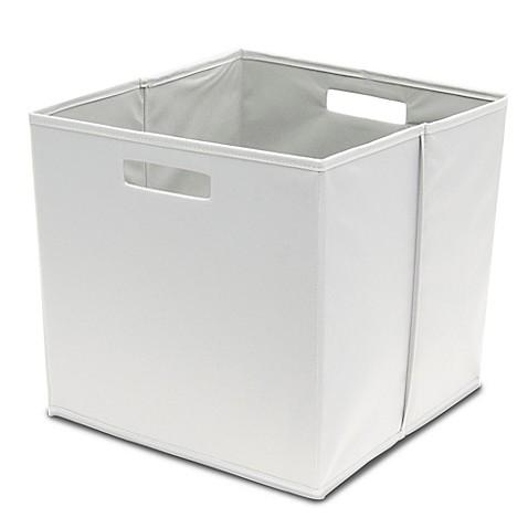 B in fabric full storage bin in grey bed bath beyond for Grey bathroom bin