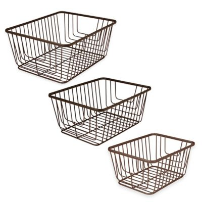 image of Spectrum® Ashley Storage Basket in Bronze