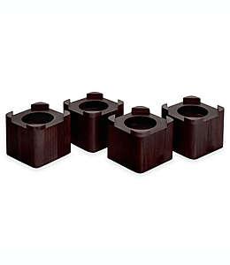 Elevadores de madera para cama en espresso, Set de 4