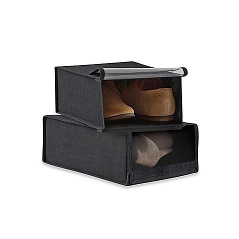Studio 3b 2 pack non woven shoe storage boxes in black for Black box container studios