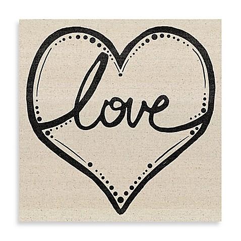 Love script heart canvas wall art bed bath beyond Script art