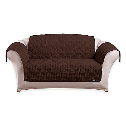 Buy Sure Fit Wide Wale Corduroy Loveseat Cover In Chocolate From Bed Bath Beyond