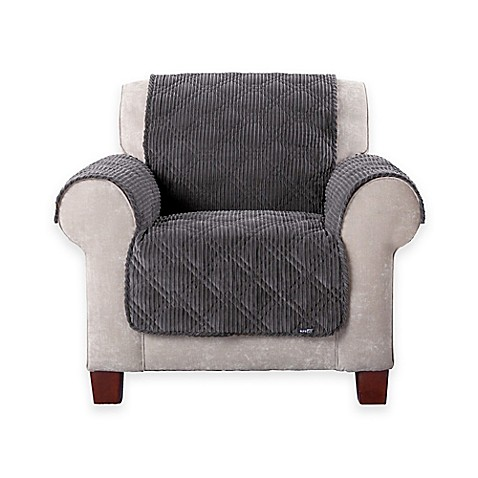Sure Fitu0026reg; Wide Wale Corduroy Furniture Cover In Graphite