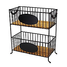 image of Mesa 2-Tier Rectangular Iron Basket with Chalkboard Panel  in Antique Black