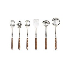 image of Schmidt Brothers® Brass Walnut 7-Piece Kitchen Tool Set with Holding Stand
