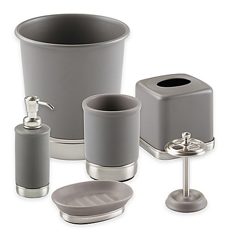 Interdesign york bath ensemble in matte grey bed bath for Grey bathroom accessories set