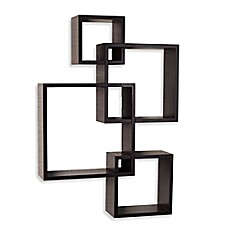 image of Danya B™ Intersecting Cube Shelves in Laminated Espresso