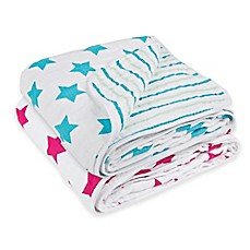 image of Lassig Stars & Stripes Cozy Swaddle & Burp Blanket