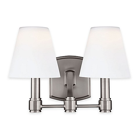 Buy Feiss Leddington 2 Light Vanity Fixture In Satin Nickel From Bed Bath Beyond