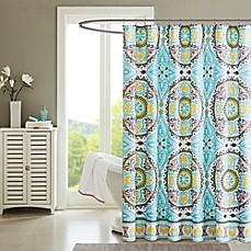 Madison Park Samara Printed Shower Curtain In Aqua