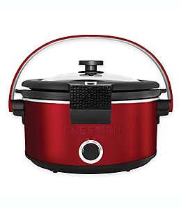 Olla de cocción lenta Chefman®, con sistema de bloqueo y asa, 4.73 L en rojo