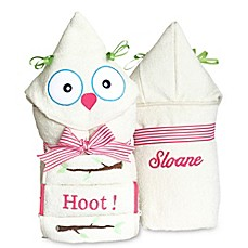 image of Silly Phillie® Creations Owl Hooded Baby Girl Towel Set