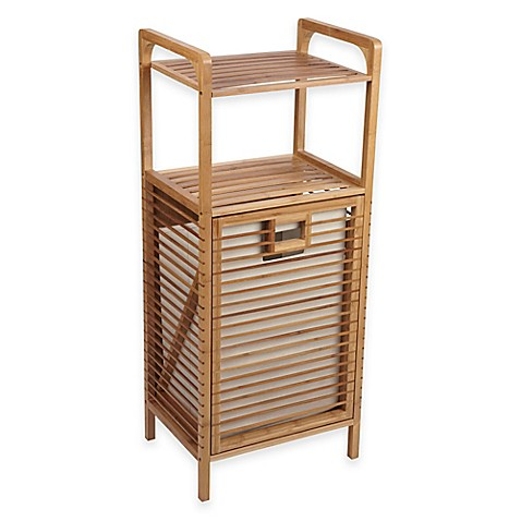 bathroom cabinet hamper tilt out bamboo slat laundry hamper bed bath amp beyond 11054