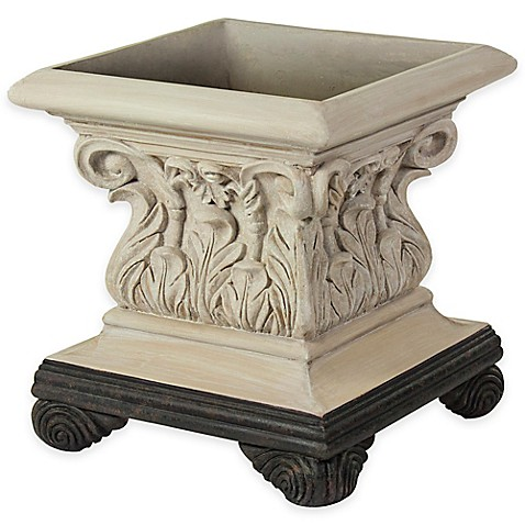 Bombay® Outdoor Corinthian Planter in Limestone Finish