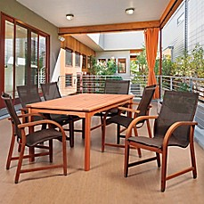 Image Of Amazonia Bahamas 7 Piece Eucalyptus Outdoor Patio Dining Set In  With Brown Sling