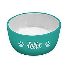 image of Ceramic Cat Bowl in Teal