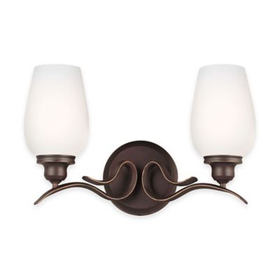Vanity Light Fixture Oil Rubbed Bronze : Buy Feiss Standish 2-Light Vanity Fixture in Oil-Rubbed Bronze with LED Bulbs from Bed Bath ...