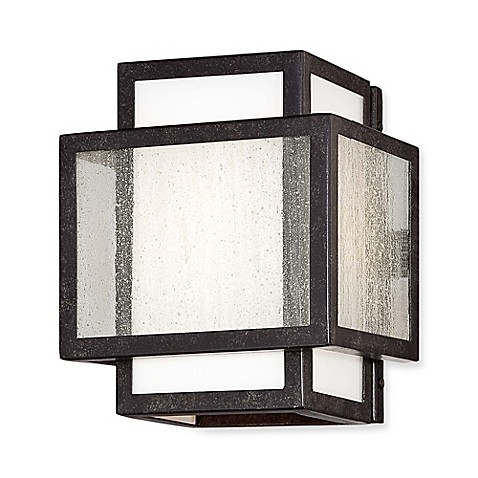 Buy minka lavery camden square 1 light wall mount bath fixture in aged charcoal with glass for Minka bathroom light fixtures