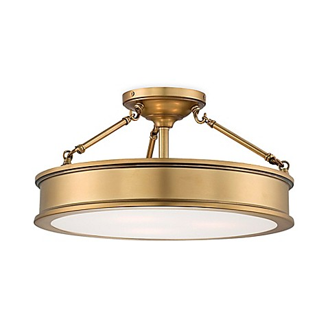 Minka lavery harbour point 3 light semi flush mount fixture in gold minka laveryreg harbour point 3 light semi flush mount fixture in gold with aloadofball Image collections
