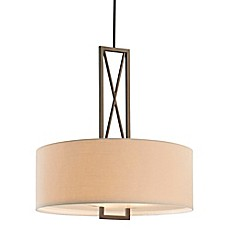 image of Minka Lavery® Harvard Court 3-Light Pendant in Bronze with Linen Shade
