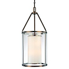 image of Minka Lavery® Harvard Court 6-Light Pendant in Bronze with Glass Shade