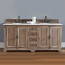 image of James Martin Furniture Providence 72-Inch Double Vanity with Carrara White Stone Top in Driftwood