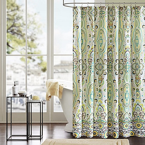 Intelligent design tasia shower curtain in green bed - Intelligent shower ...