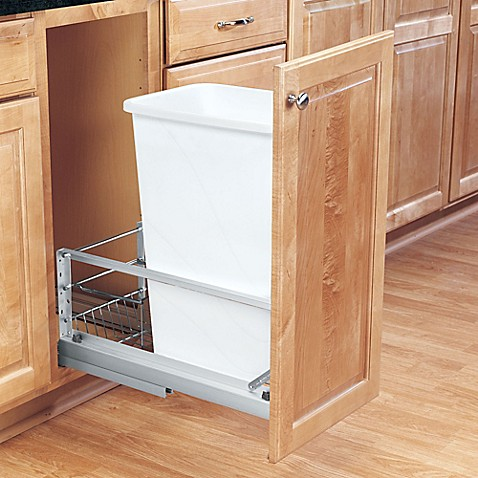 buy rev a shelf 50 qt pull out waste container in white. Black Bedroom Furniture Sets. Home Design Ideas