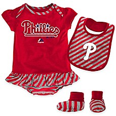image of MLB Philadelphia Phillies Newborn 3-Piece Girl Creeper Bib and Bootie Set