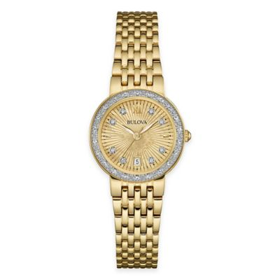image of Bulova Ladies' 26mm Diamond Dress Watch in Gold-Tone Stainless Steel with Mother of Pearl Dial